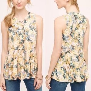 Floral Tie Up Anafa Tiered Anthro Floreat Tank